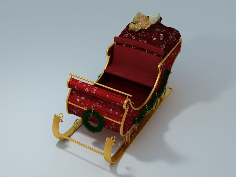 Slitta di Babbo Natale royalty-free 3d model - Preview no. 5