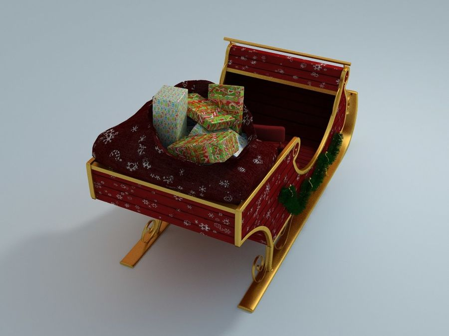 Slitta di Babbo Natale royalty-free 3d model - Preview no. 4