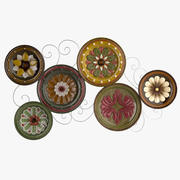 Scattered Italian Plates Wall - Geometry 3d model