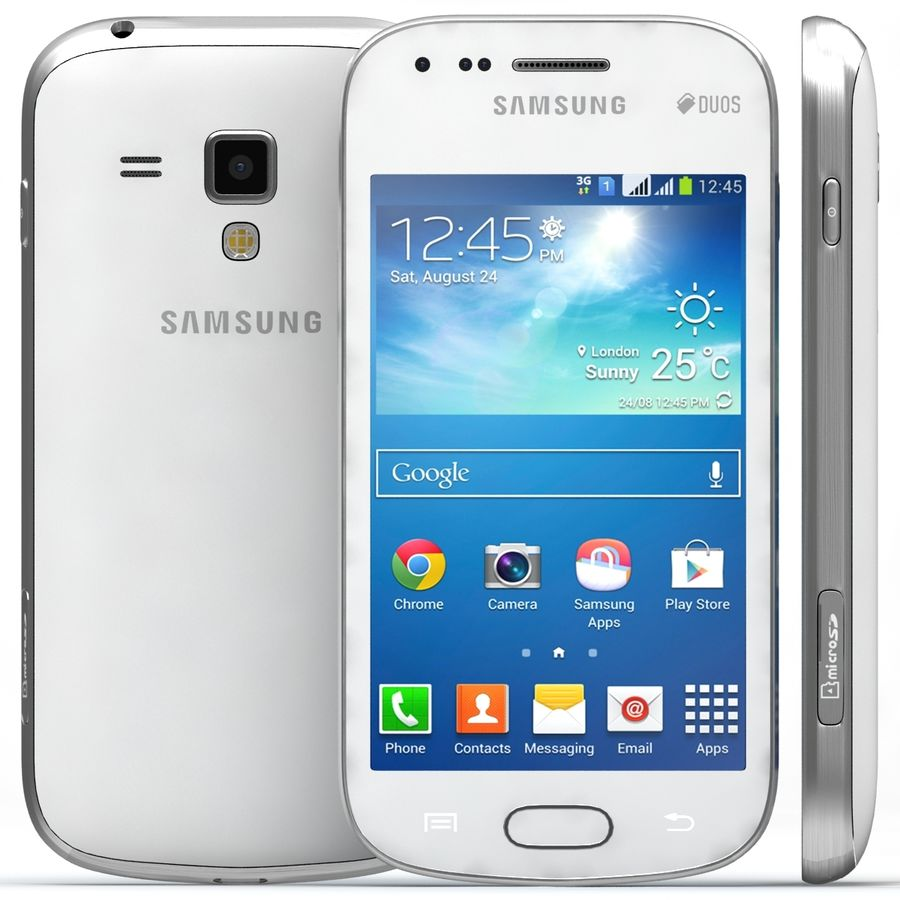 Samsung Galaxy S Duos 2 White royalty-free 3d model - Preview no. 1