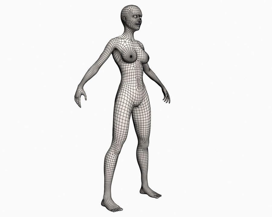 Basic Vrouw royalty-free 3d model - Preview no. 7