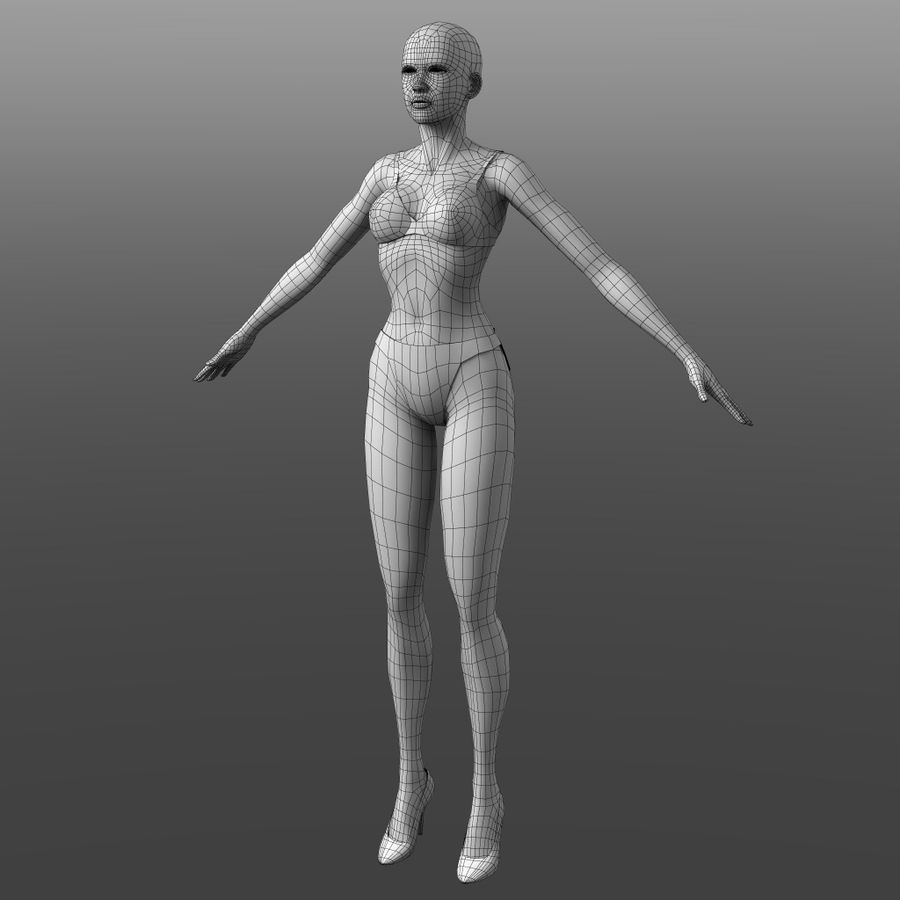 Generic Young Woman royalty-free 3d model - Preview no. 8
