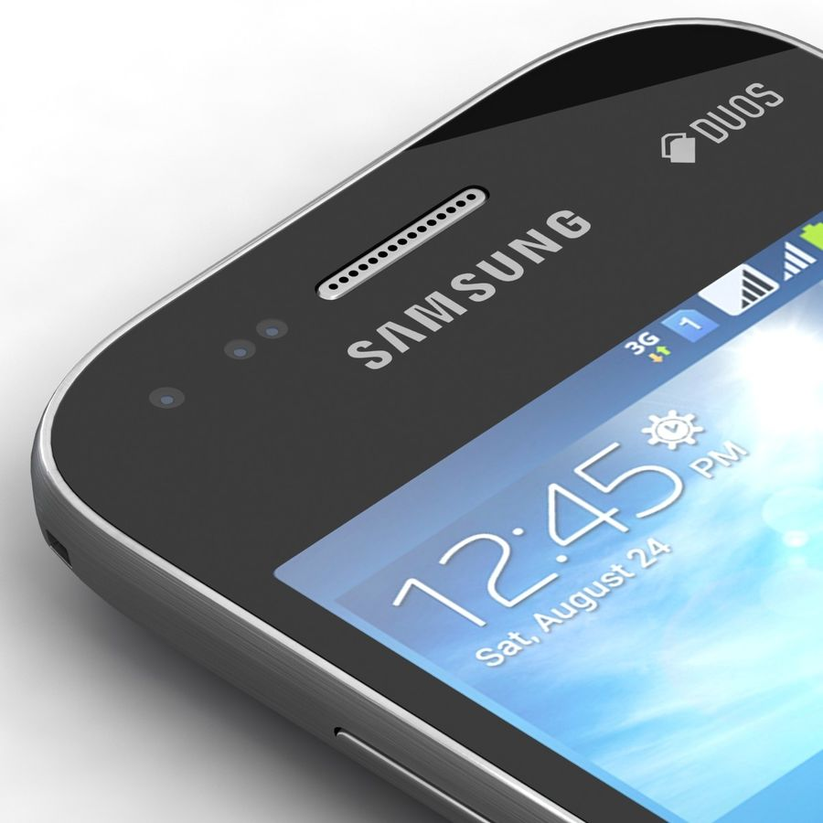 Samsung Galaxy S Duos 2 Black And White royalty-free 3d model - Preview no. 18