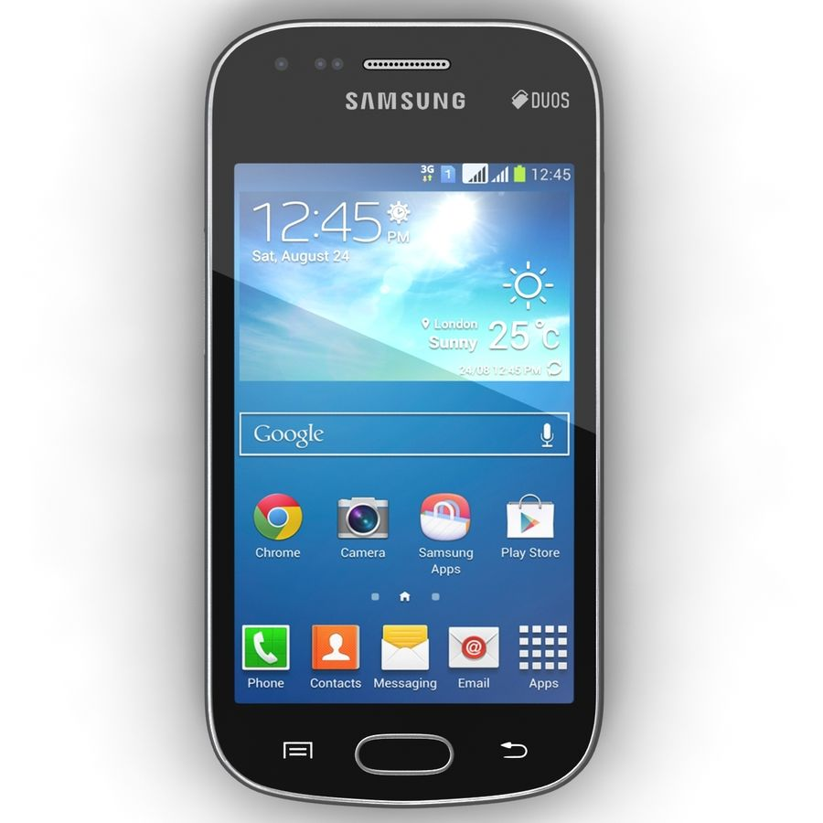 Samsung Galaxy S Duos 2 Black And White royalty-free 3d model - Preview no. 15