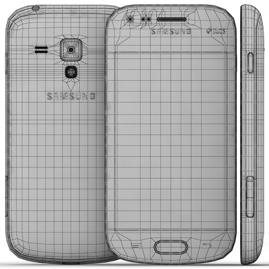 Samsung Galaxy S Duos 2 Black And White royalty-free 3d model - Preview no. 21