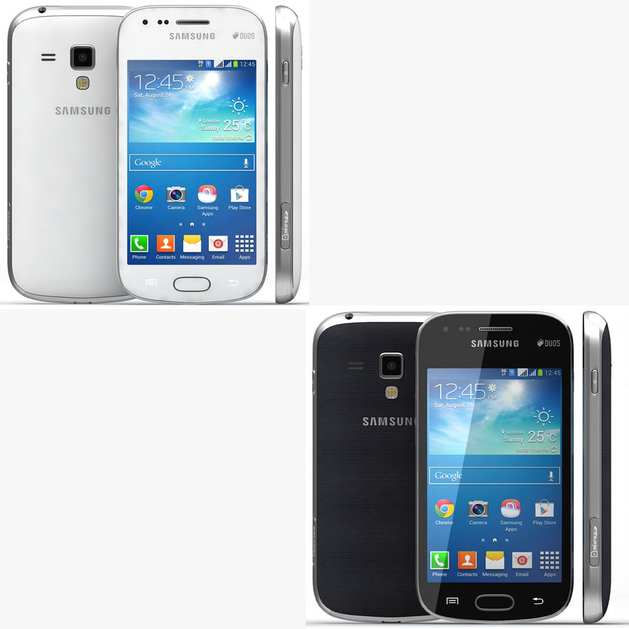 Samsung Galaxy S Duos 2 Black And White royalty-free 3d model - Preview no. 1
