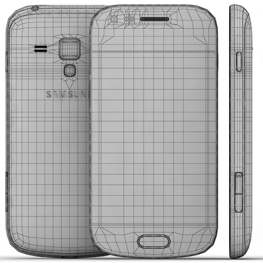 Samsung Galaxy S Duos 2 Black And White royalty-free 3d model - Preview no. 25