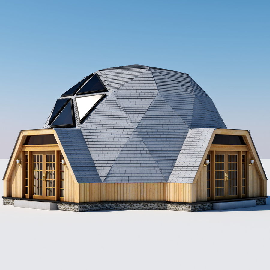 Geodesic Dome House royalty-free 3d model - Preview no. 4