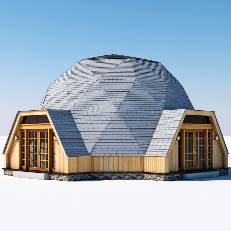 Geodesic Dome House royalty-free 3d model - Preview no. 2