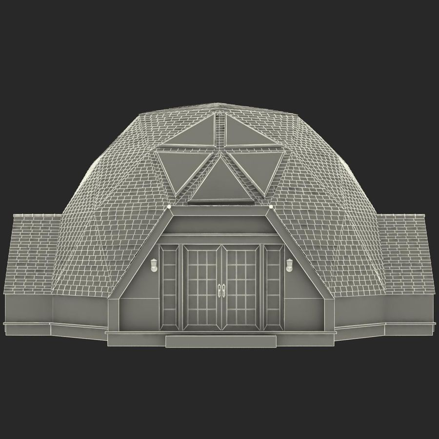 Geodesic Dome House royalty-free 3d model - Preview no. 17