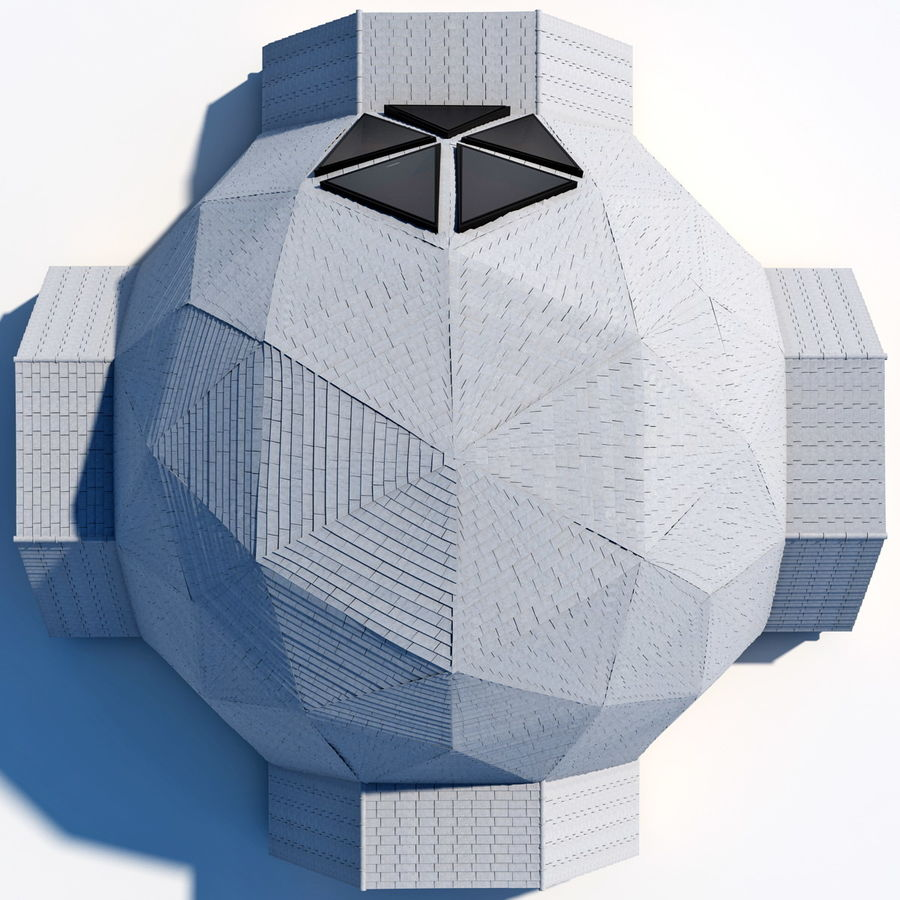Geodesic Dome House royalty-free 3d model - Preview no. 5
