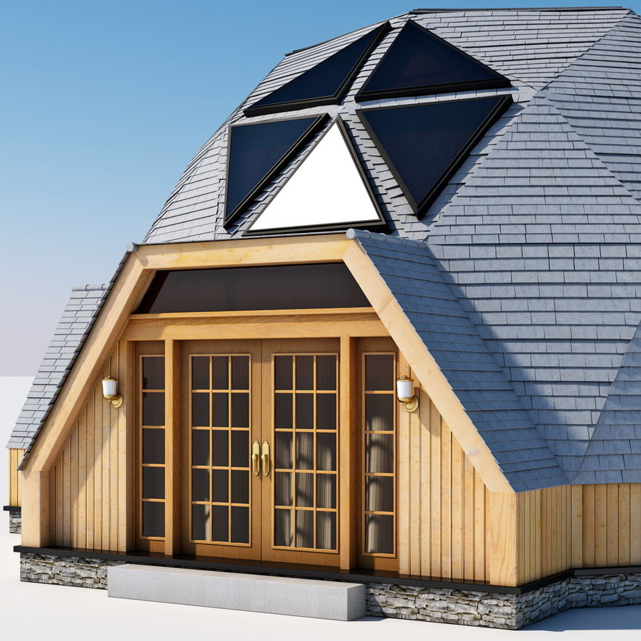 Geodesic Dome House royalty-free 3d model - Preview no. 11