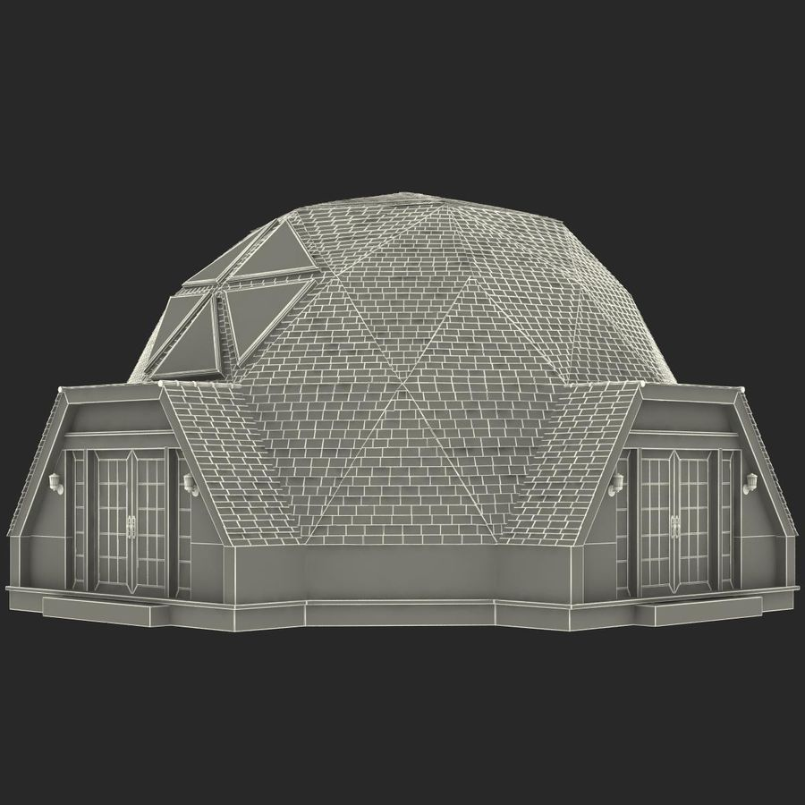 Geodesic Dome House royalty-free 3d model - Preview no. 18