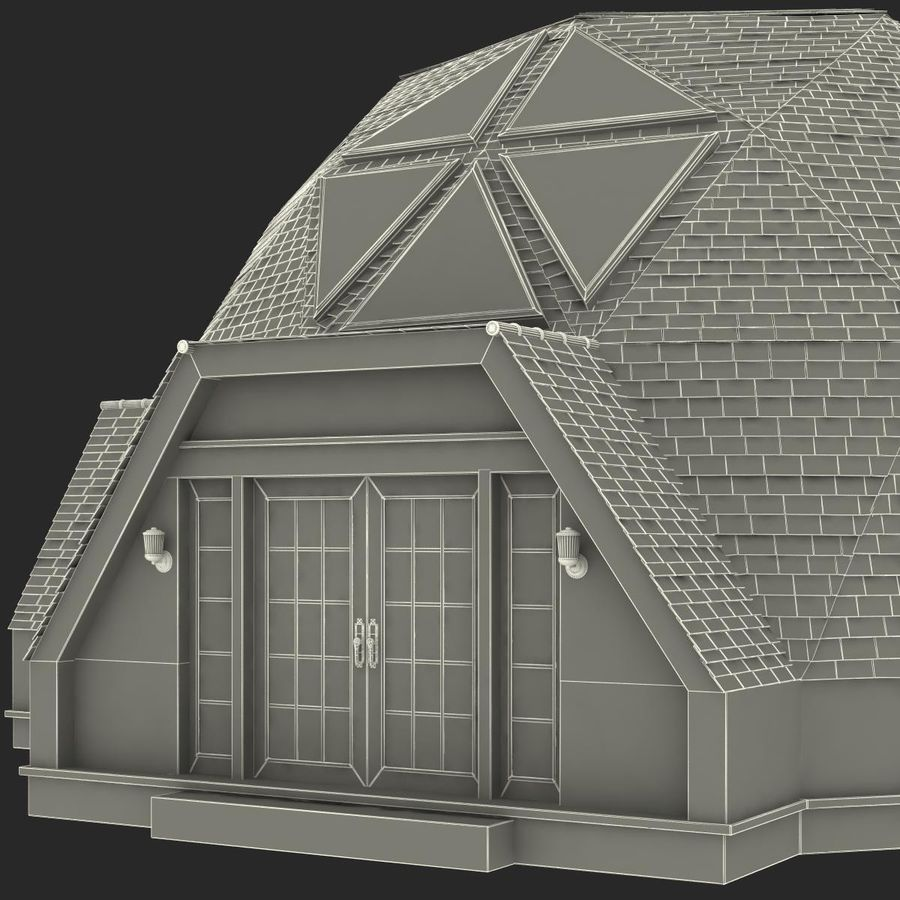 Geodesic Dome House royalty-free 3d model - Preview no. 20