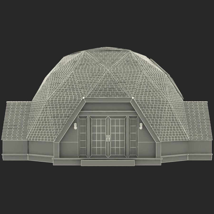Geodesic Dome House royalty-free 3d model - Preview no. 15