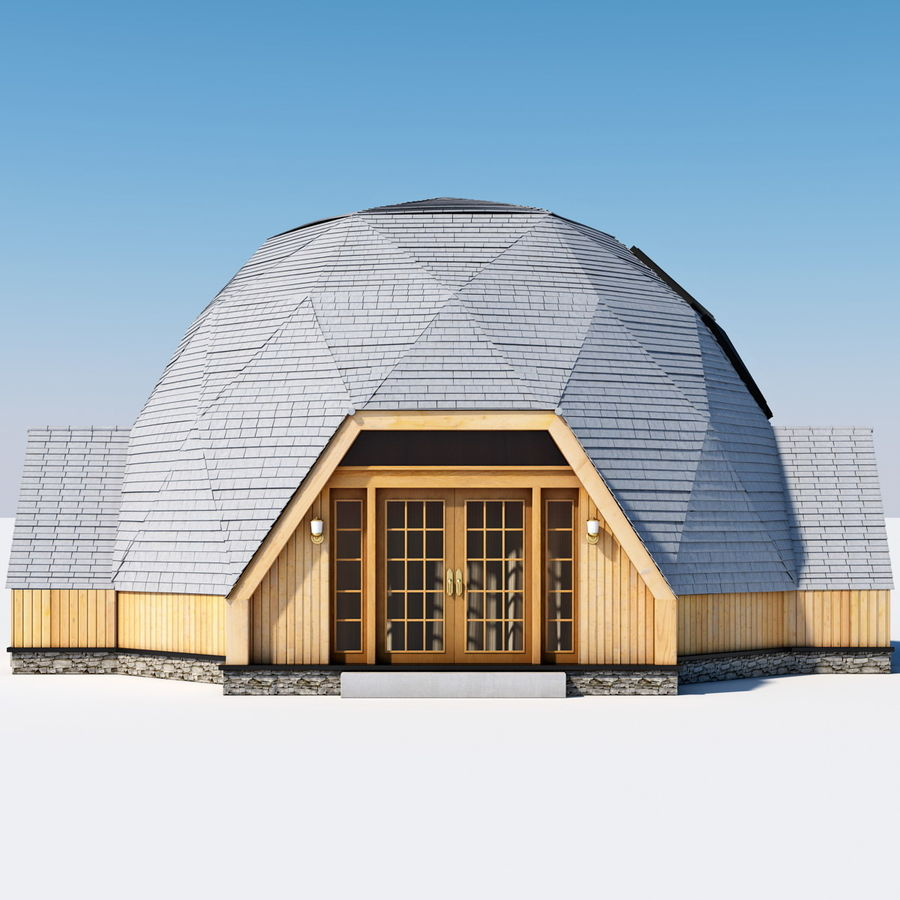 Geodesic Dome House royalty-free 3d model - Preview no. 1