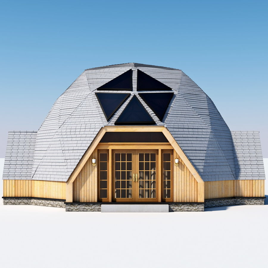 Geodesic Dome House royalty-free 3d model - Preview no. 3