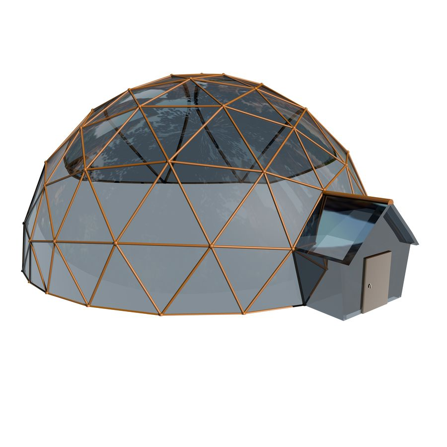 Geodesic Houses royalty-free 3d model - Preview no. 1