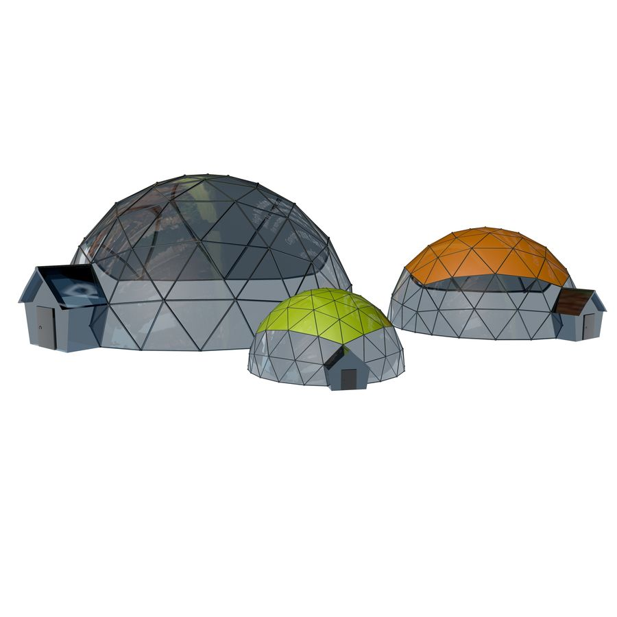 Geodesic Houses royalty-free 3d model - Preview no. 4