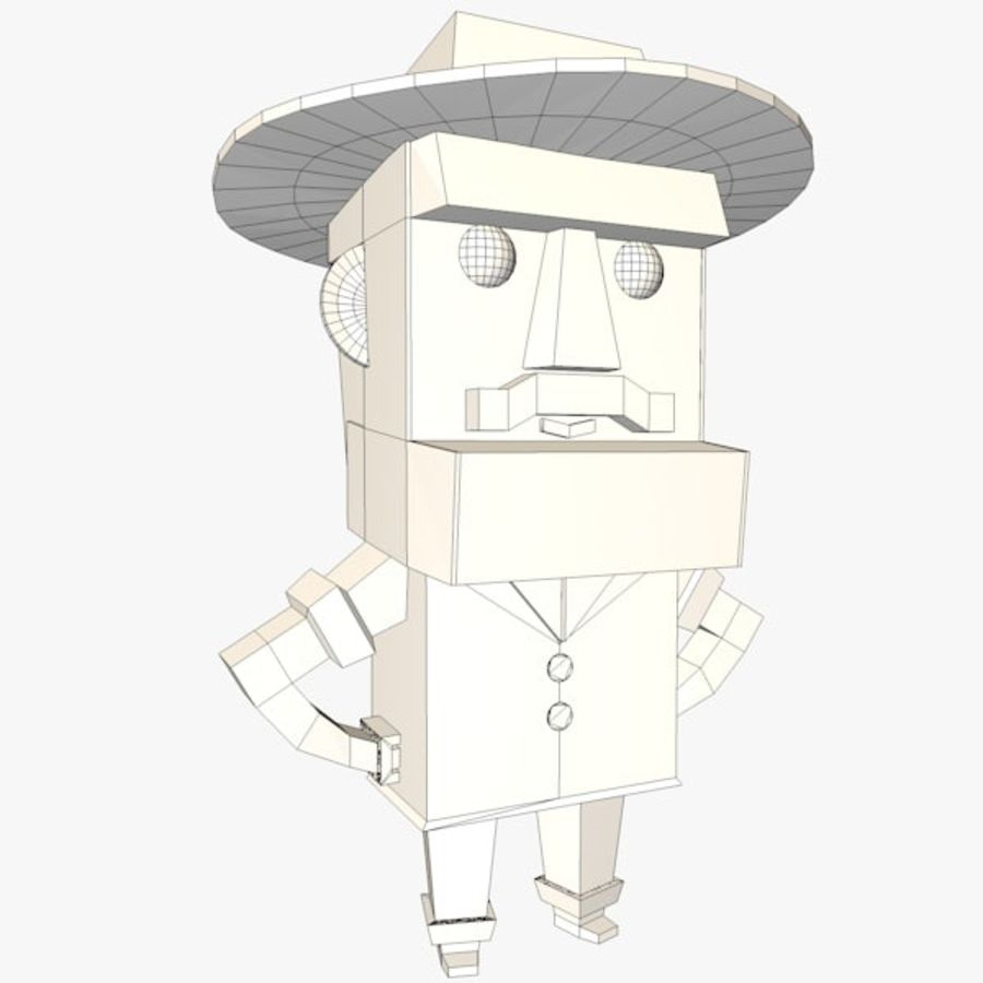 Мультипликационный персонаж низкополигональная royalty-free 3d model - Preview no. 8