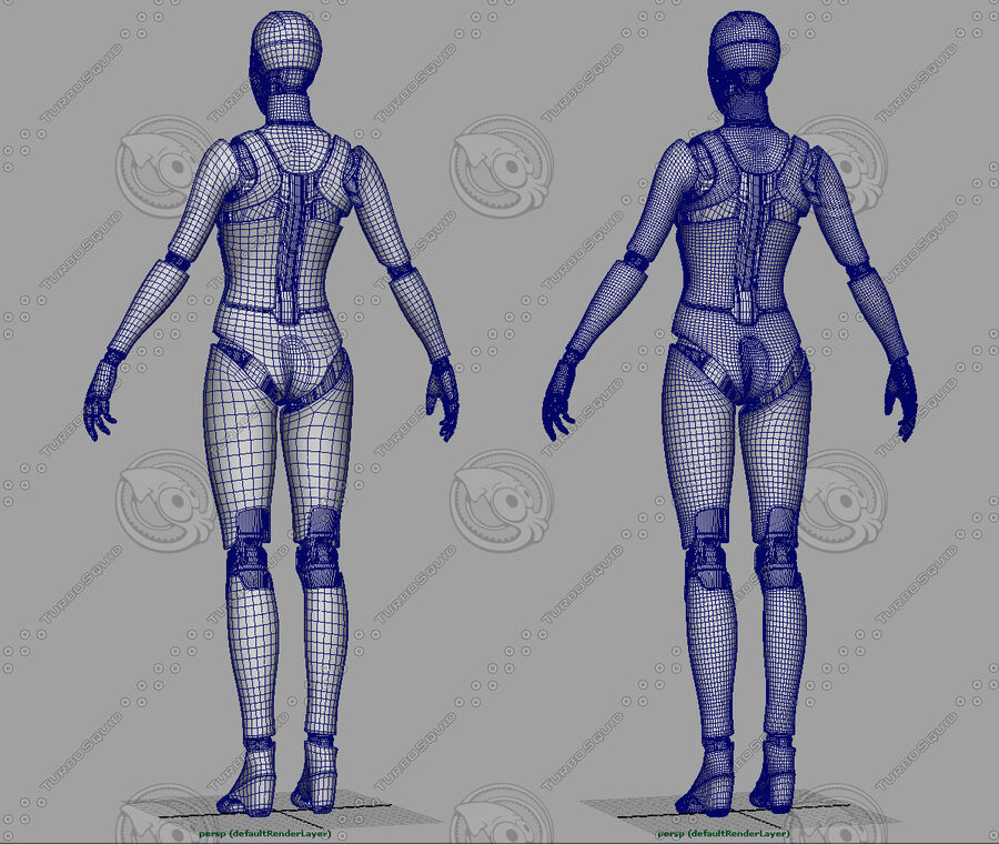 Female Cyborg Robot royalty-free 3d model - Preview no. 19