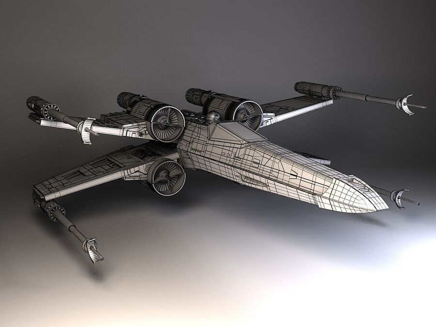 Star Wars X-Wing Fighter royalty-free 3d model - Preview no. 11