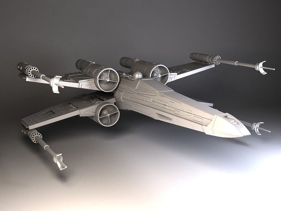 Star Wars X-Wing Fighter royalty-free 3d model - Preview no. 9