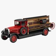 复古消防车Amo 3d model