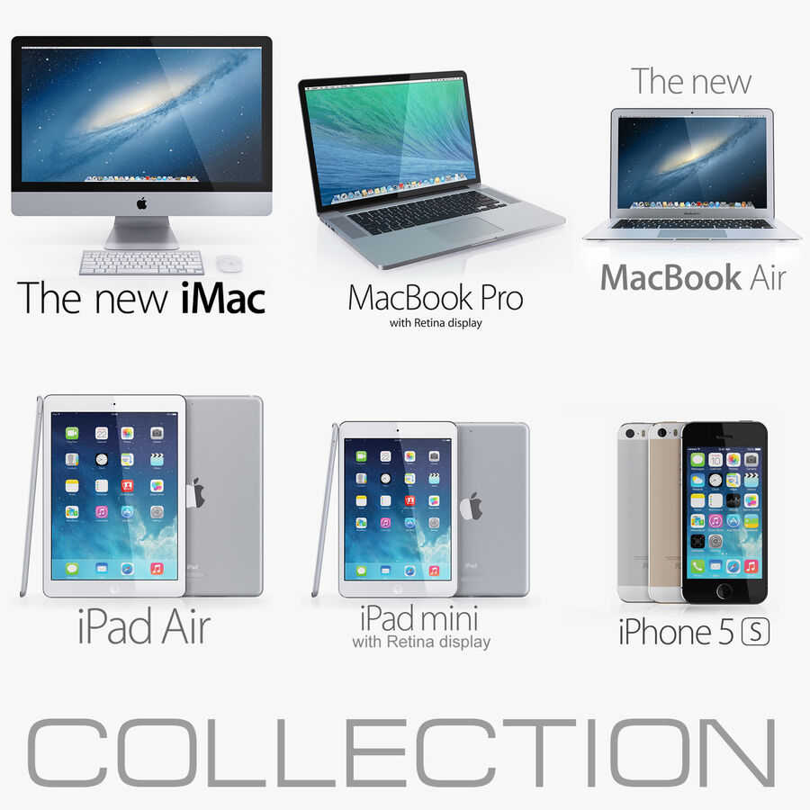 Apple Electronics Collection 2014 v1 royalty-free 3d model - Preview no. 1