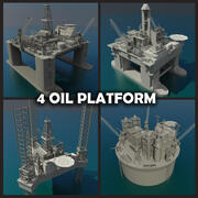 Oil platform Collection 3d model