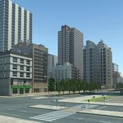 Edificios de paisaje urbano de la ciudad modelo 3d