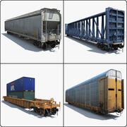 Train 4 Freight Cars 2 3d model