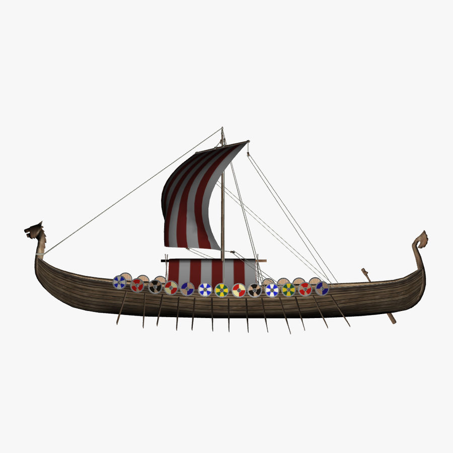 Drakkar, Viking Ship royalty-free 3d model - Preview no. 10