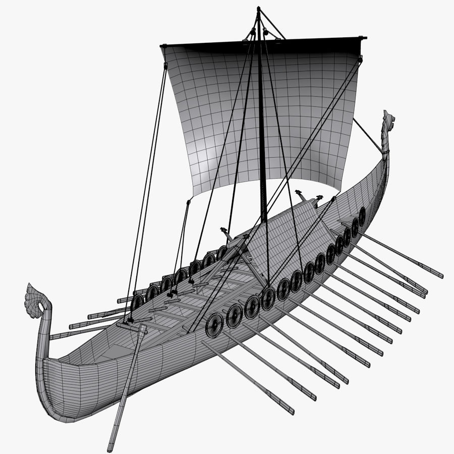 Drakkar, Viking Ship royalty-free 3d model - Preview no. 14