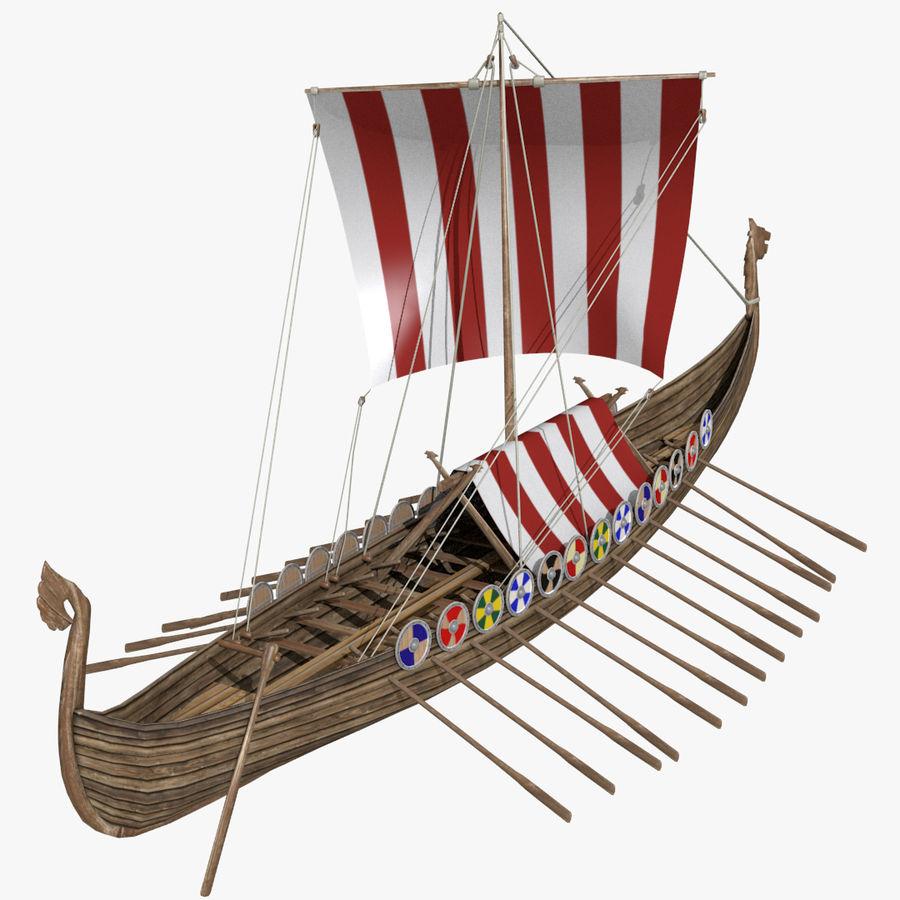 Drakkar, Viking Ship royalty-free 3d model - Preview no. 2