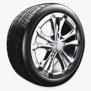 pneu de carro com aro 3d model