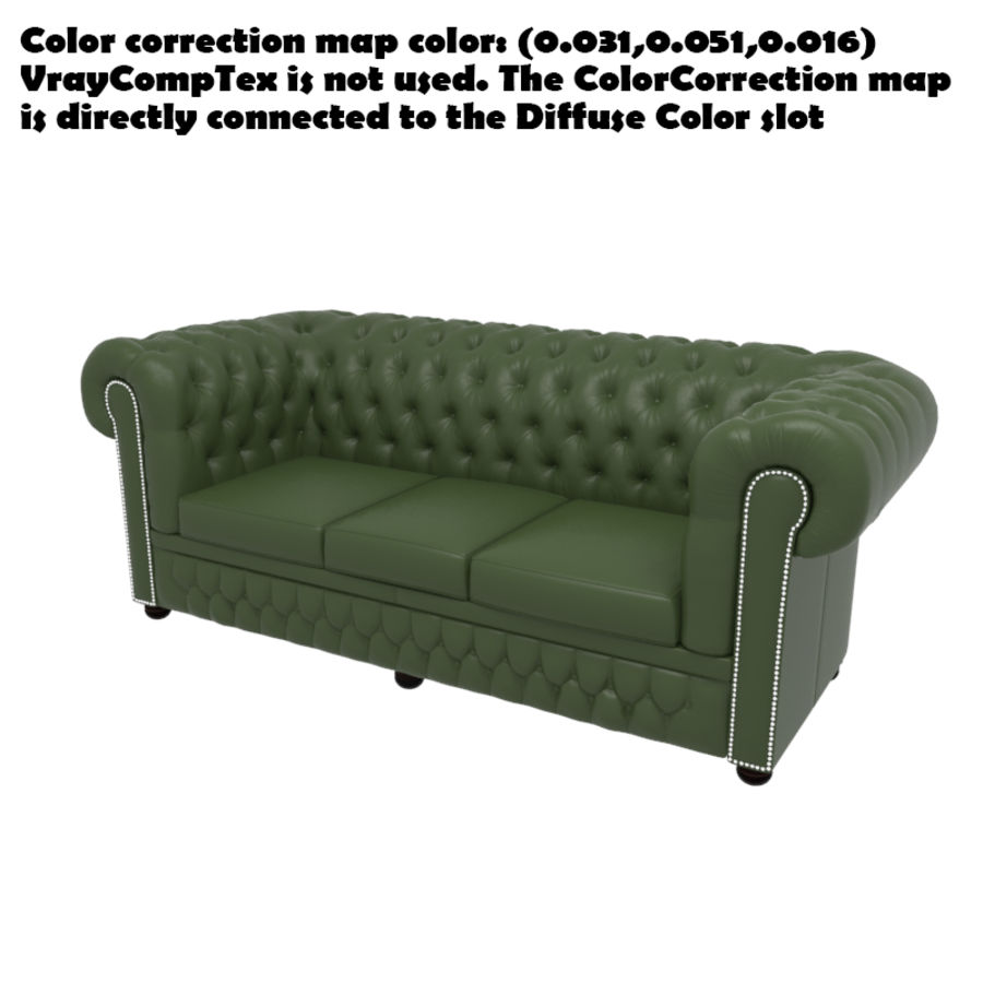 Chesterfield leather sofa royalty-free 3d model - Preview no. 9