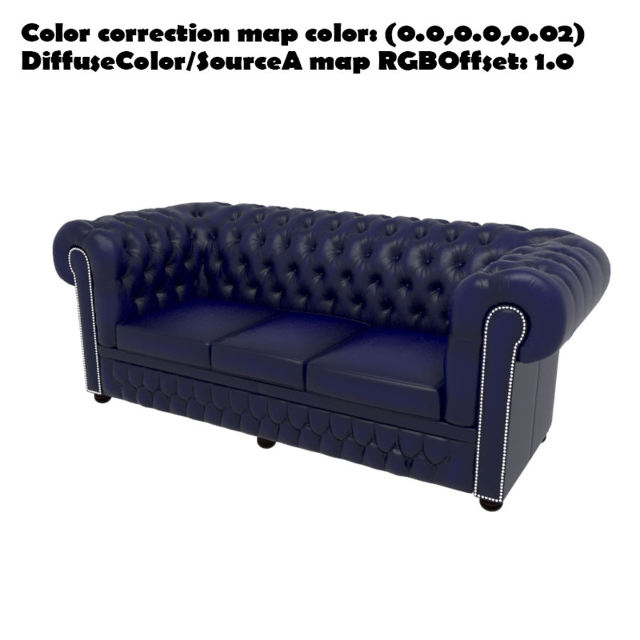 Chesterfield leather sofa royalty-free 3d model - Preview no. 12