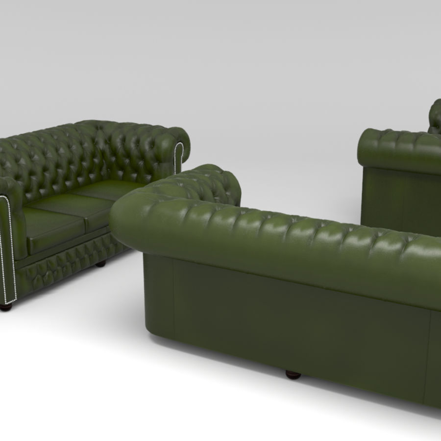 Chesterfield leather sofa royalty-free 3d model - Preview no. 14
