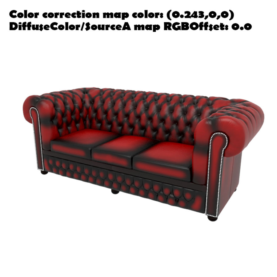 Chesterfield leather sofa royalty-free 3d model - Preview no. 7