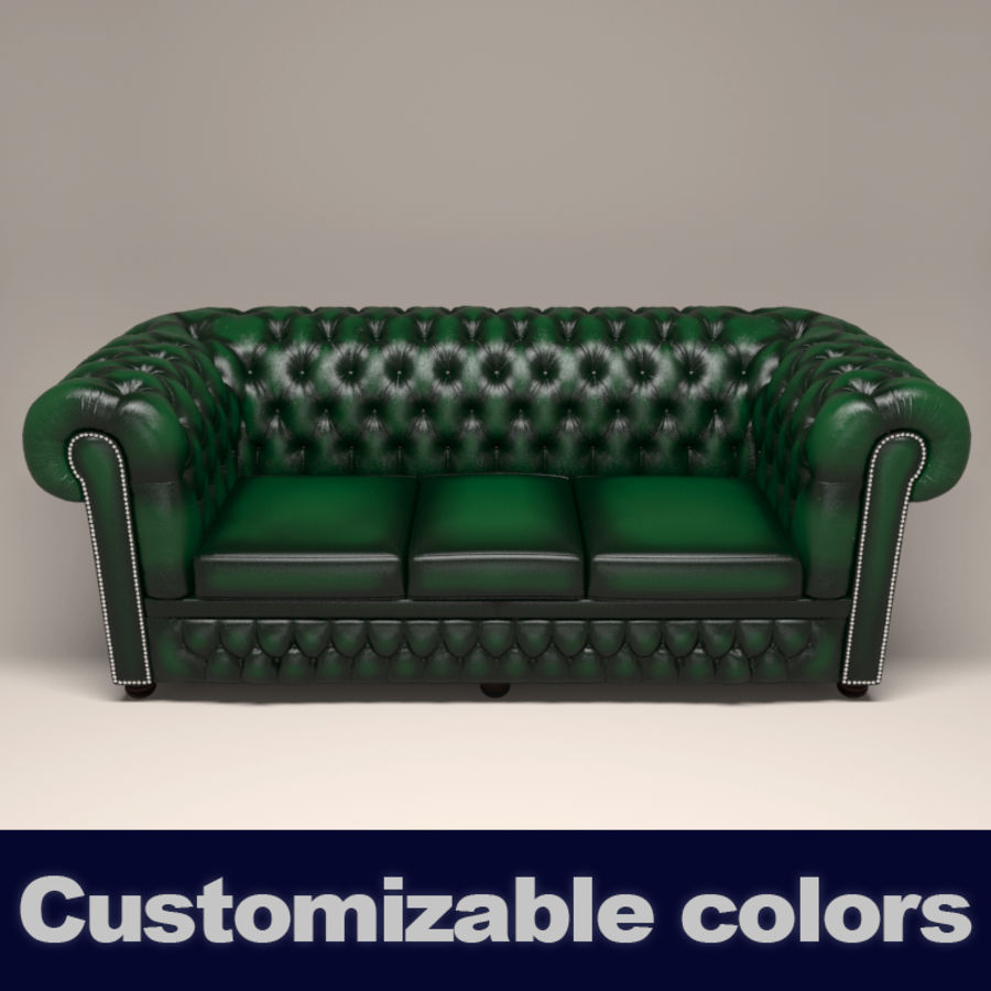 Chesterfield leather sofa royalty-free 3d model - Preview no. 1