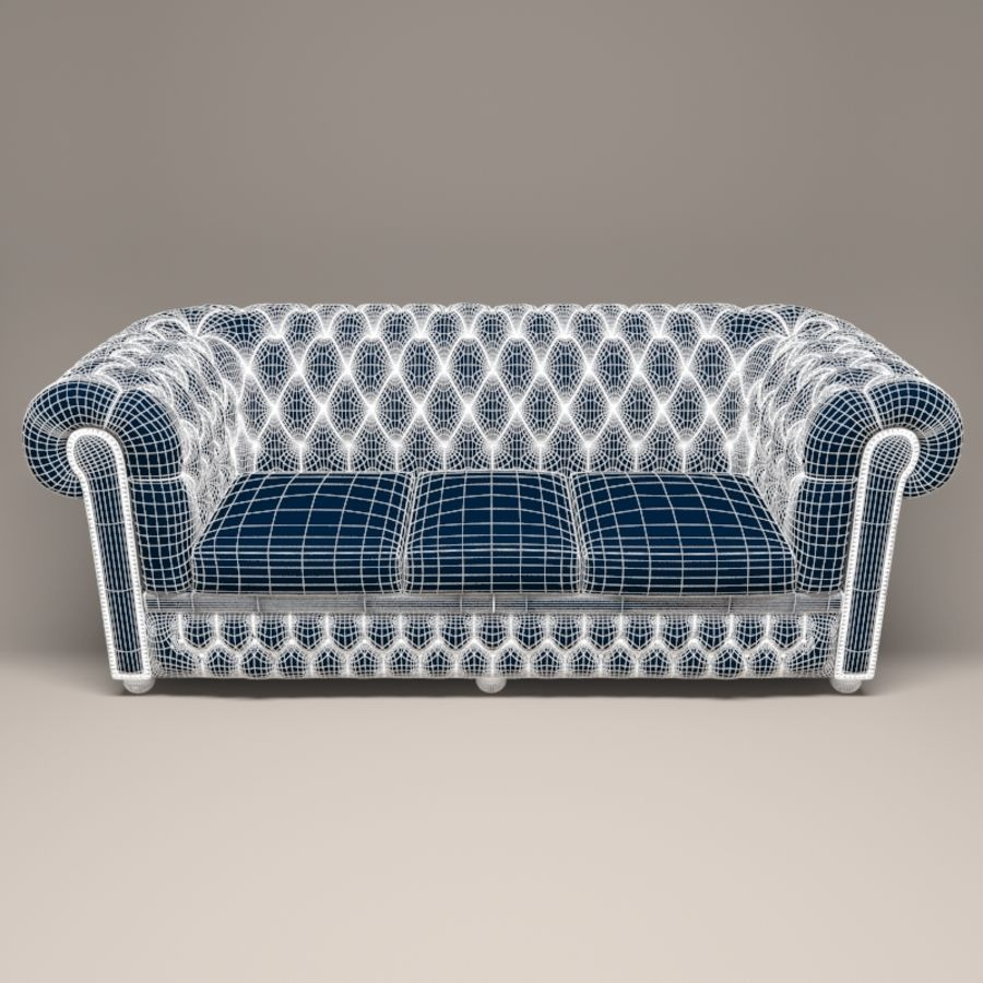 Chesterfield leather sofa royalty-free 3d model - Preview no. 2