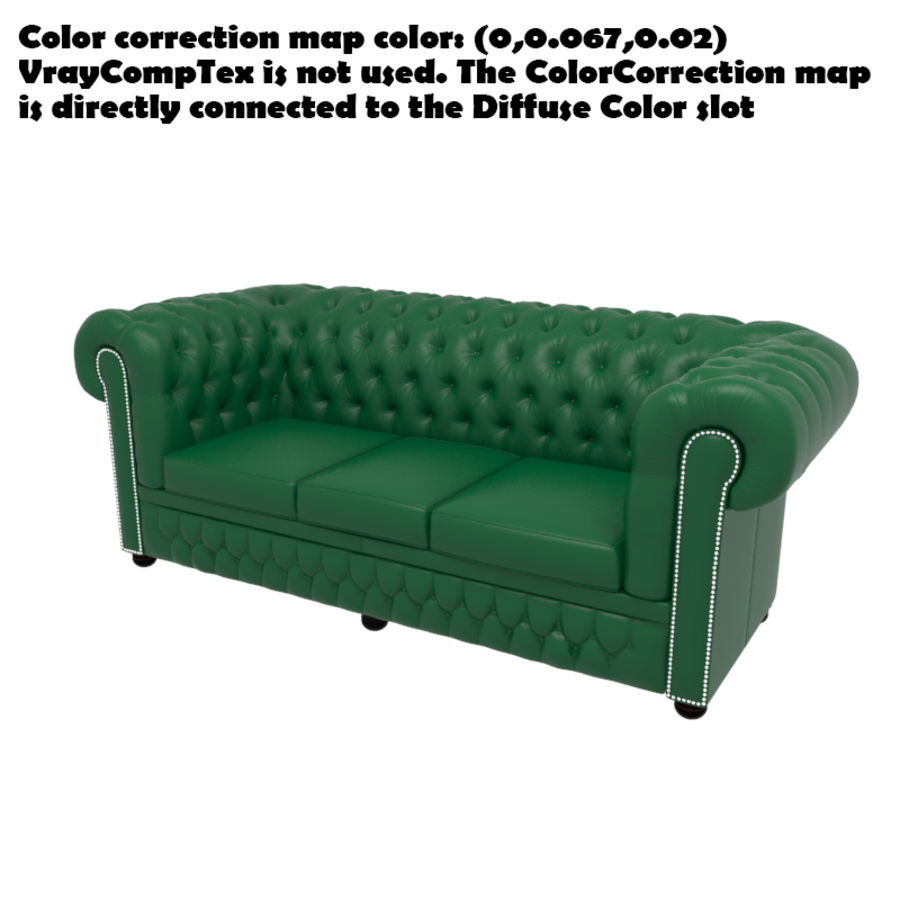 Chesterfield leather sofa royalty-free 3d model - Preview no. 8