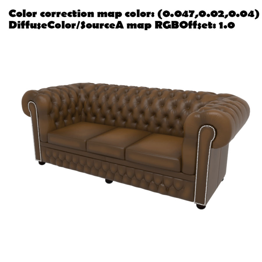 Chesterfield leather sofa royalty-free 3d model - Preview no. 11