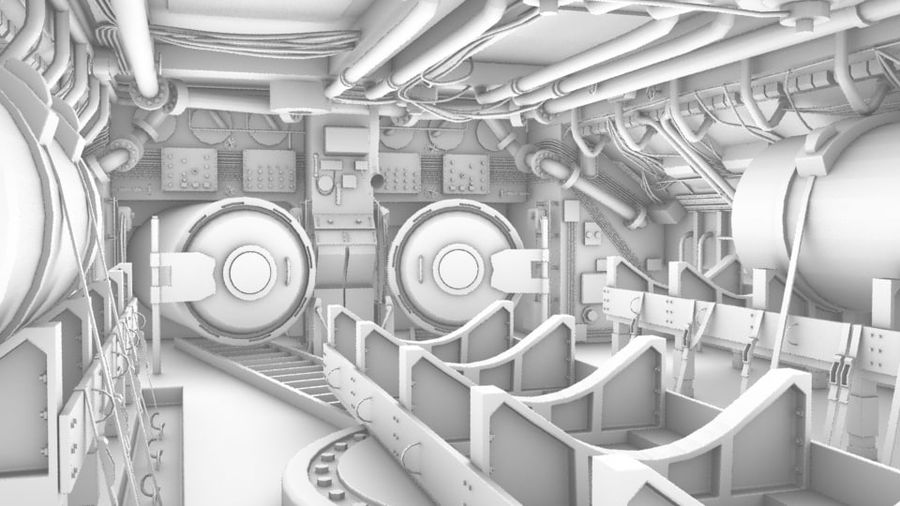 Submarine Interior royalty-free 3d model - Preview no. 1
