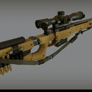 AWM Accuracy International Sniper Rifle Low Poly + High Poly 3d model