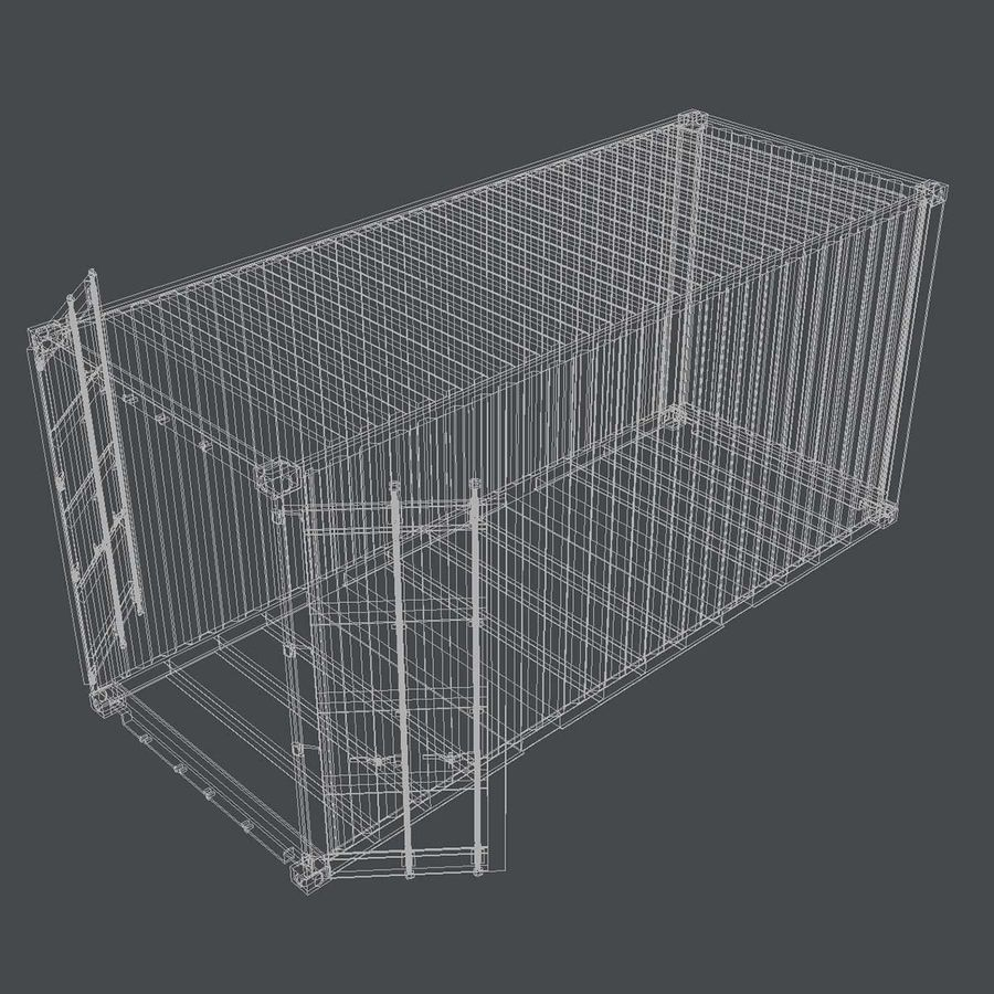 20 ft. Nakliye Konteyneri royalty-free 3d model - Preview no. 7