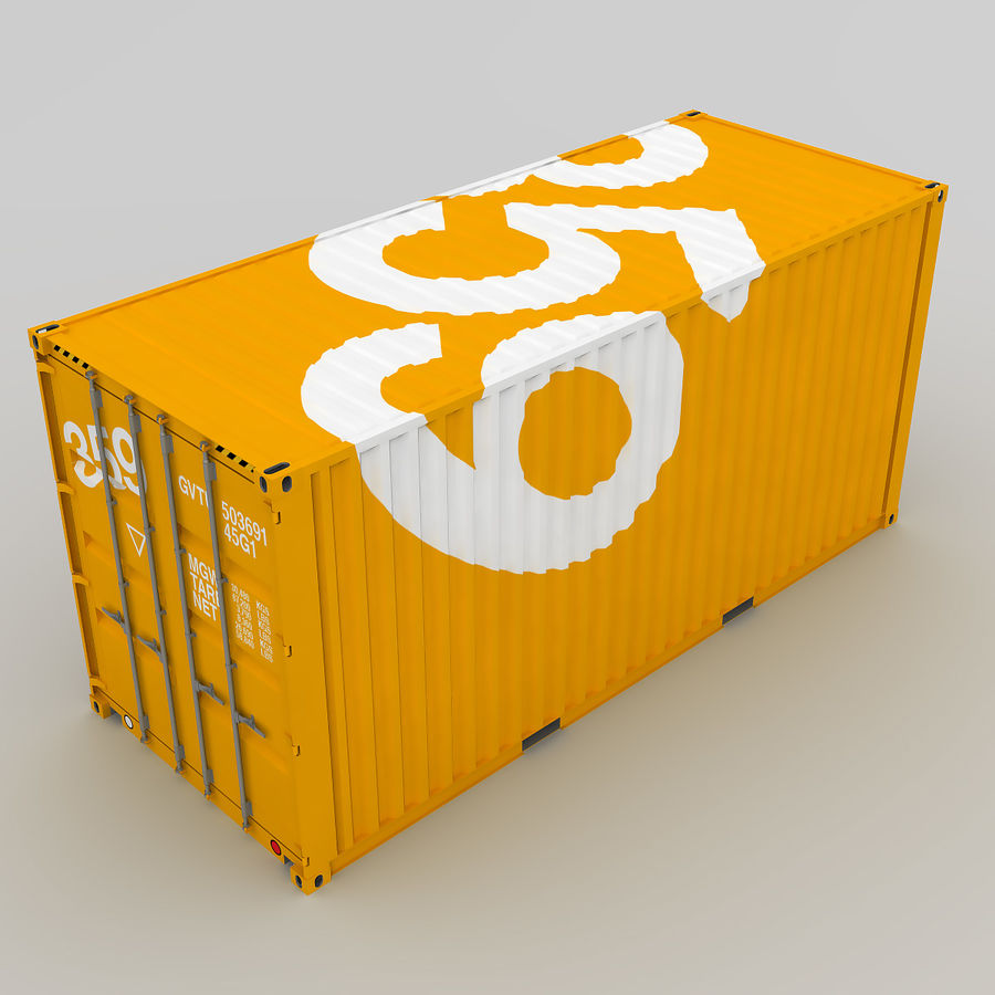 20 ft. Shipping Container royalty-free 3d model - Preview no. 6