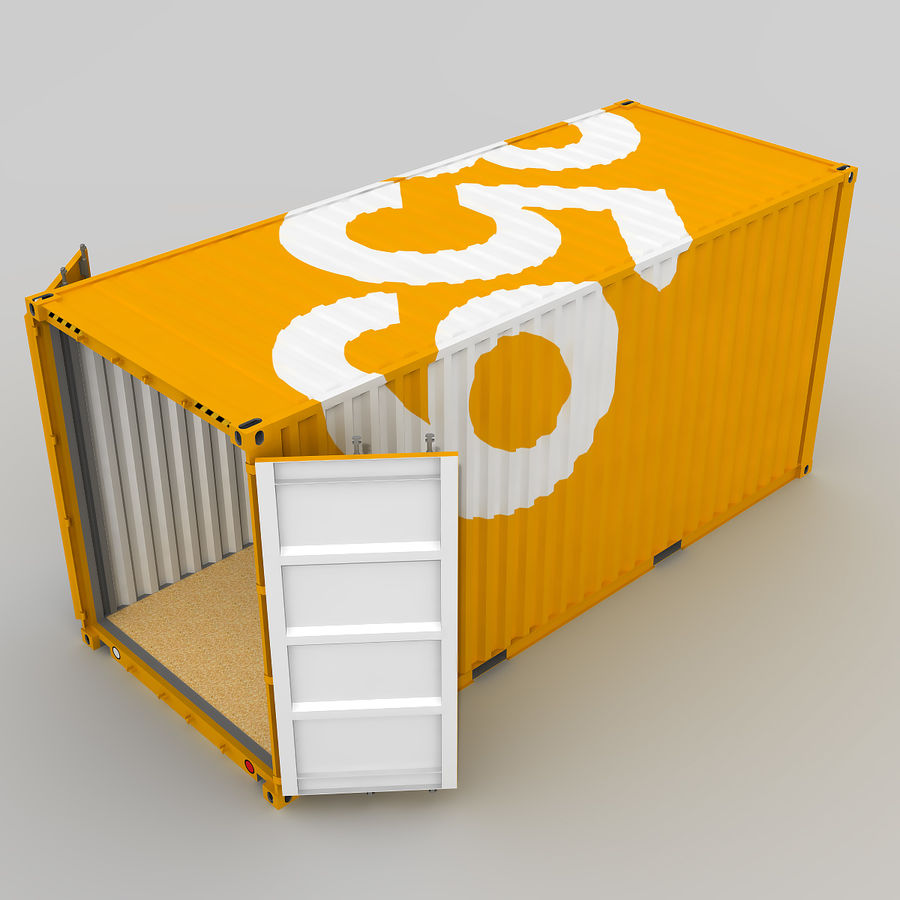 20 ft. Shipping Container royalty-free 3d model - Preview no. 8