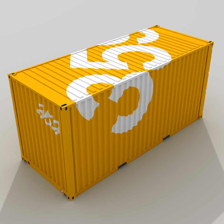 20 ft. Shipping Container royalty-free 3d model - Preview no. 5